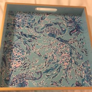 NWT Lilly Pulitzer Lacquer Tray in Blue Oasis